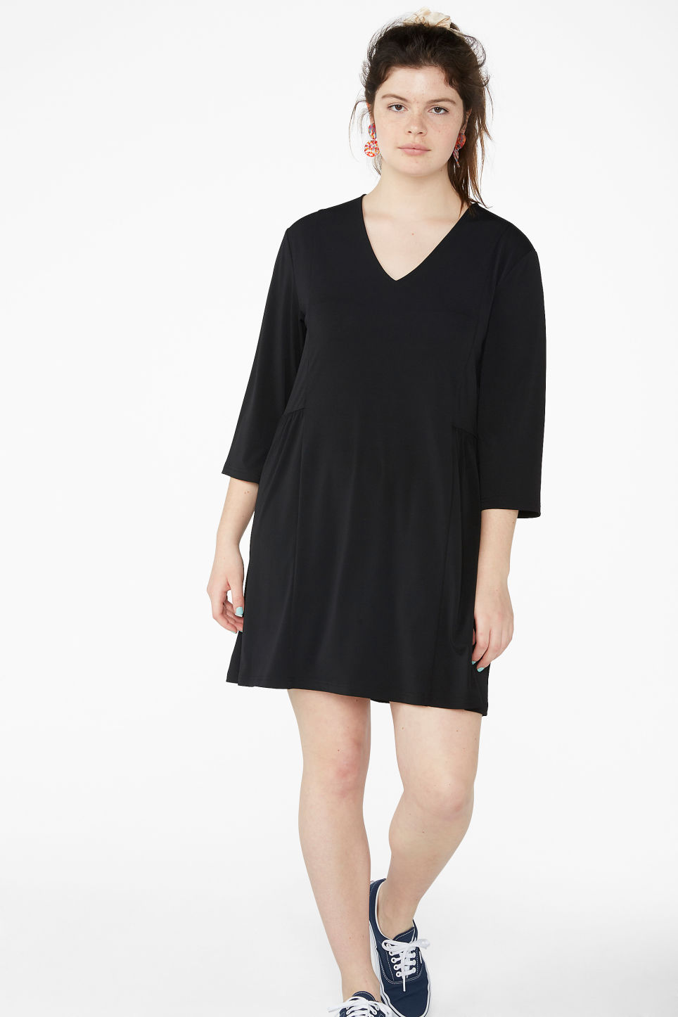 Model front image of Monki oversize v-neck dress in black