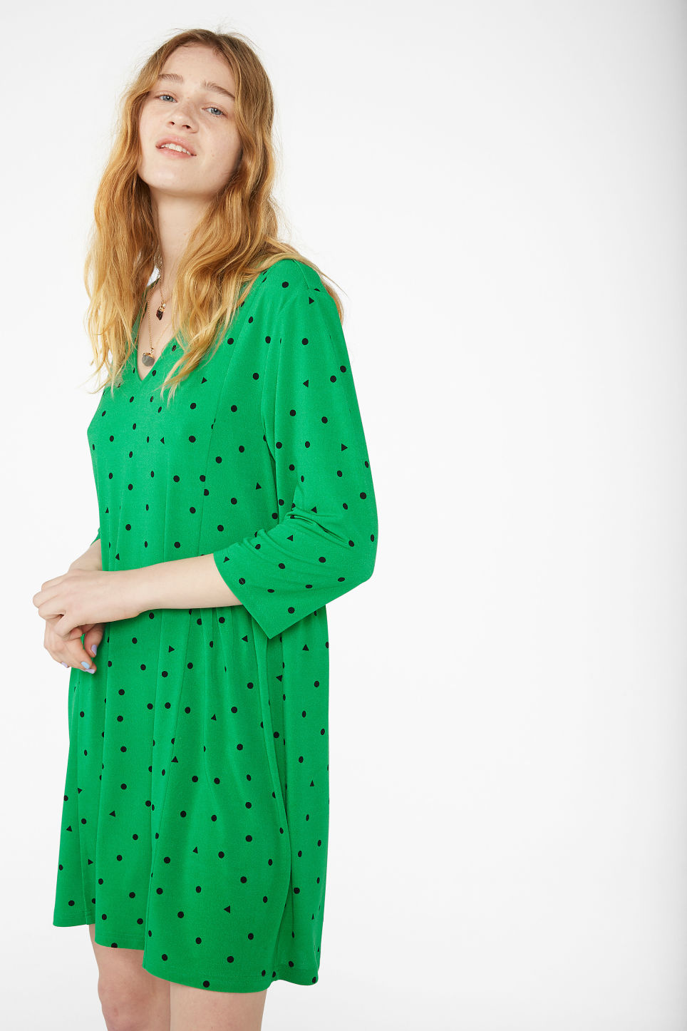 Model front image of Monki oversize v-neck dress in green