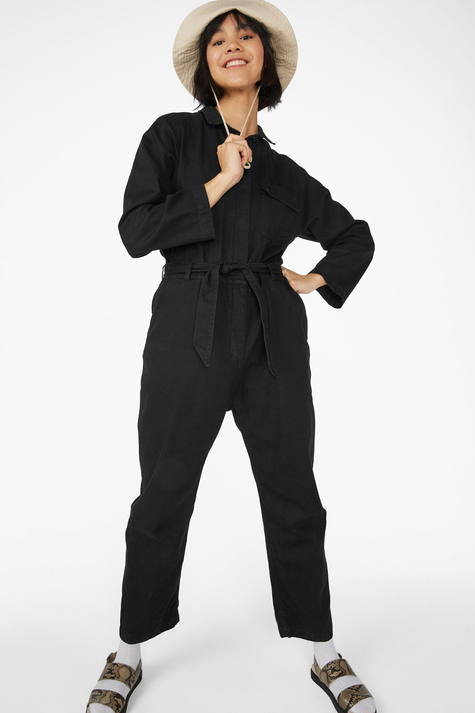 8af0875099 Model front image of Monki utilitarian jumpsuit in black