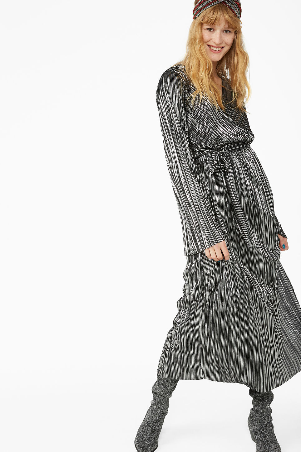 Model front image of Monki plissé wrap dress in grey