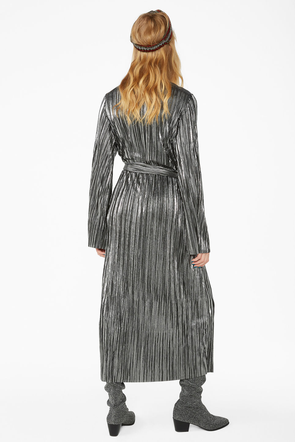 Model back image of Monki plissé wrap dress in grey