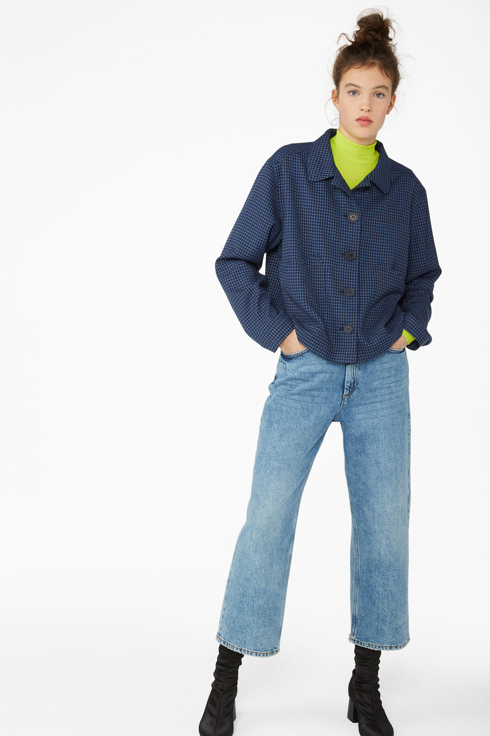 Model front image of Monki short jacket in blue