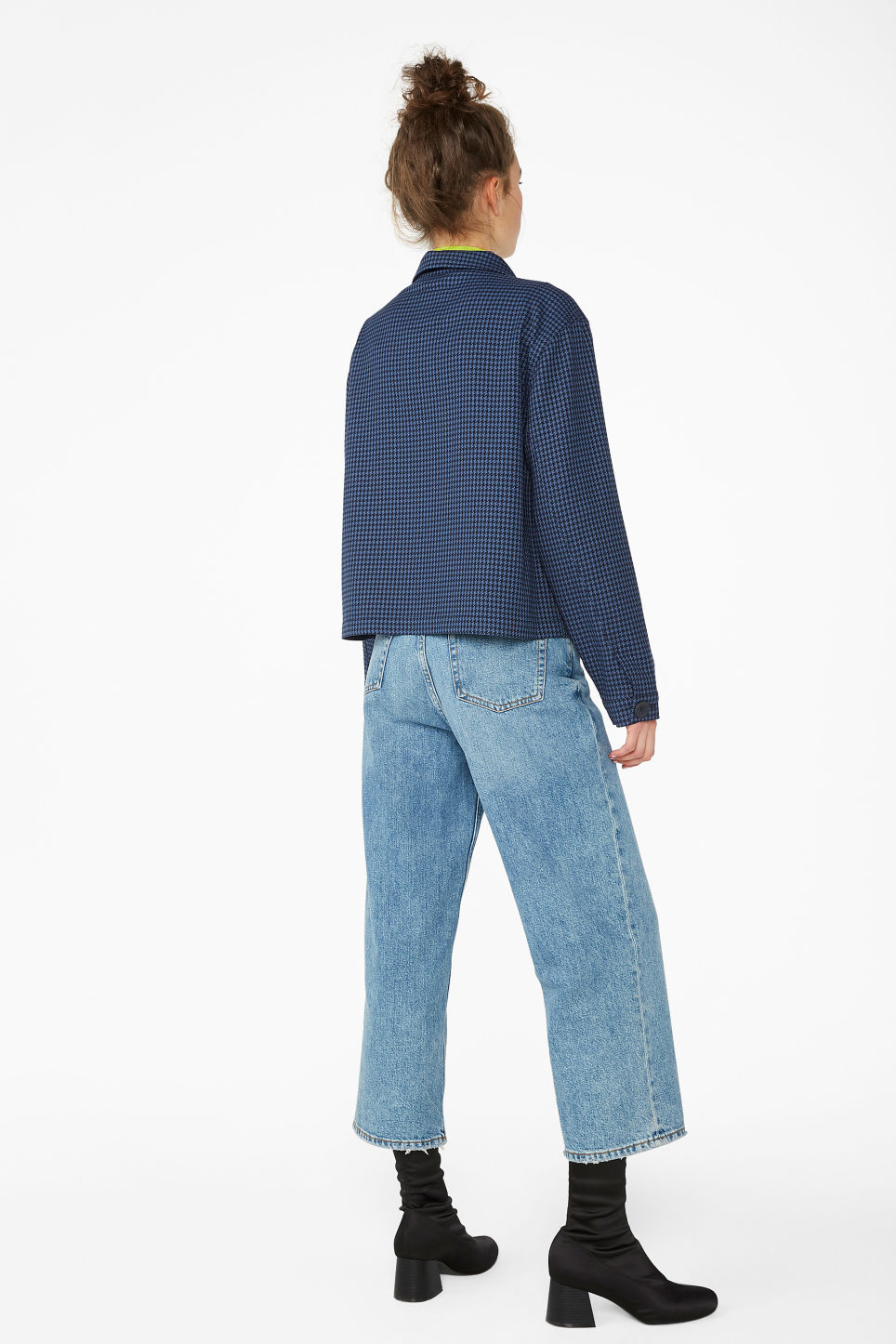 Model back image of Monki short jacket in blue