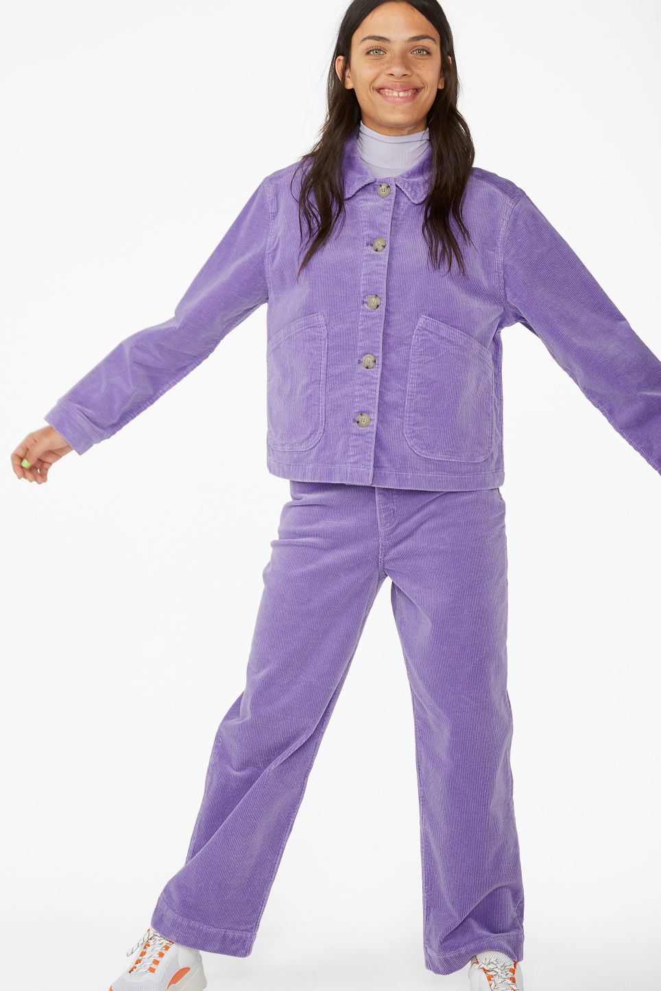 Model front image of Monki short jacket in purple