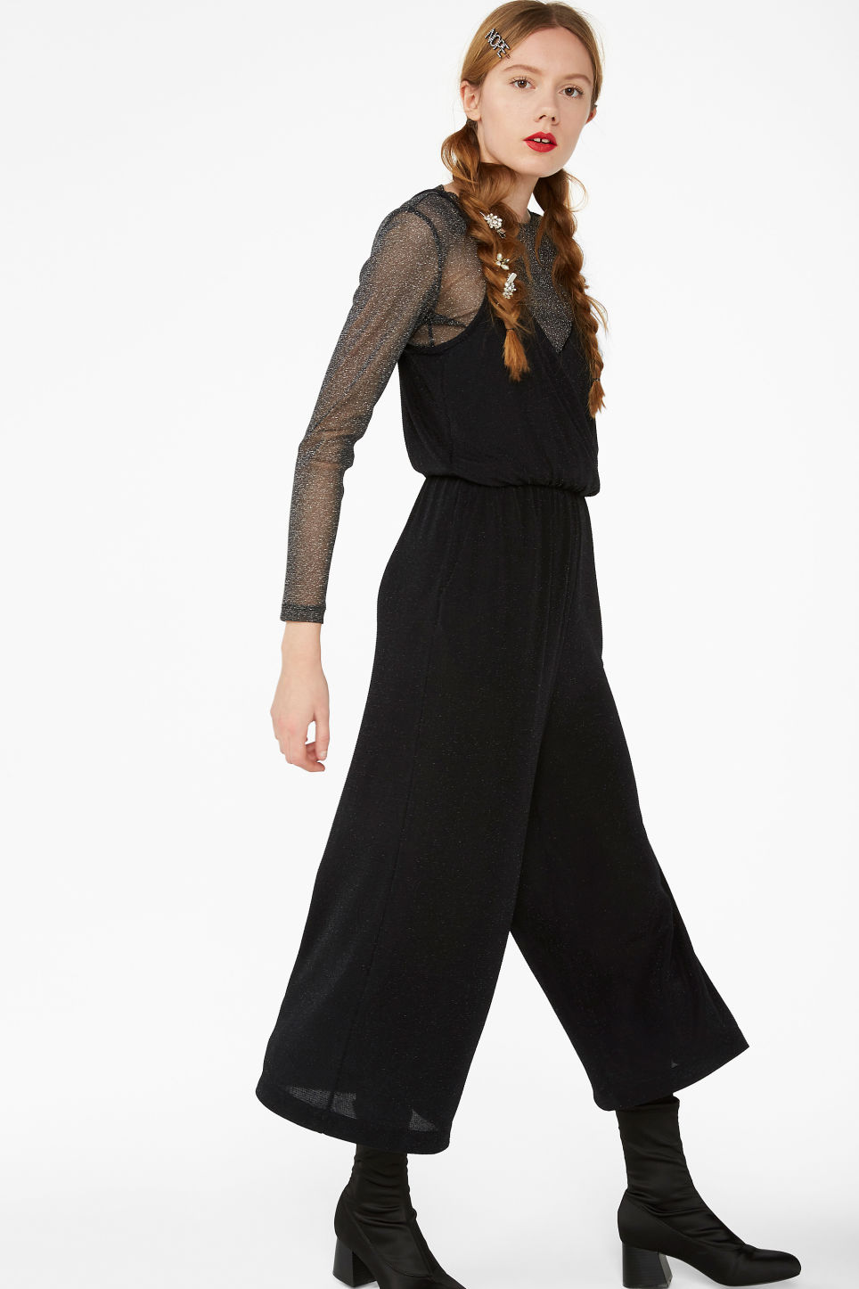 Model front image of Monki spaghetti strap jumpsuit in black