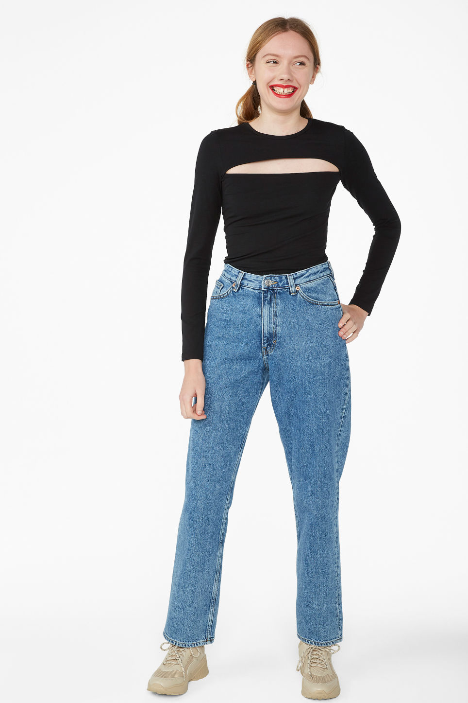 Model side image of Monki cut-out top in black