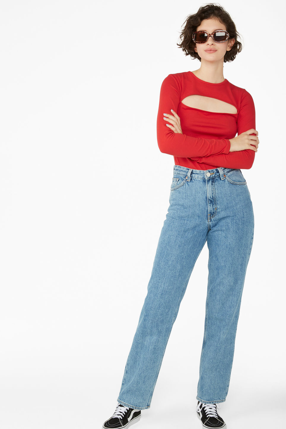 Model side image of Monki cut-out top in red