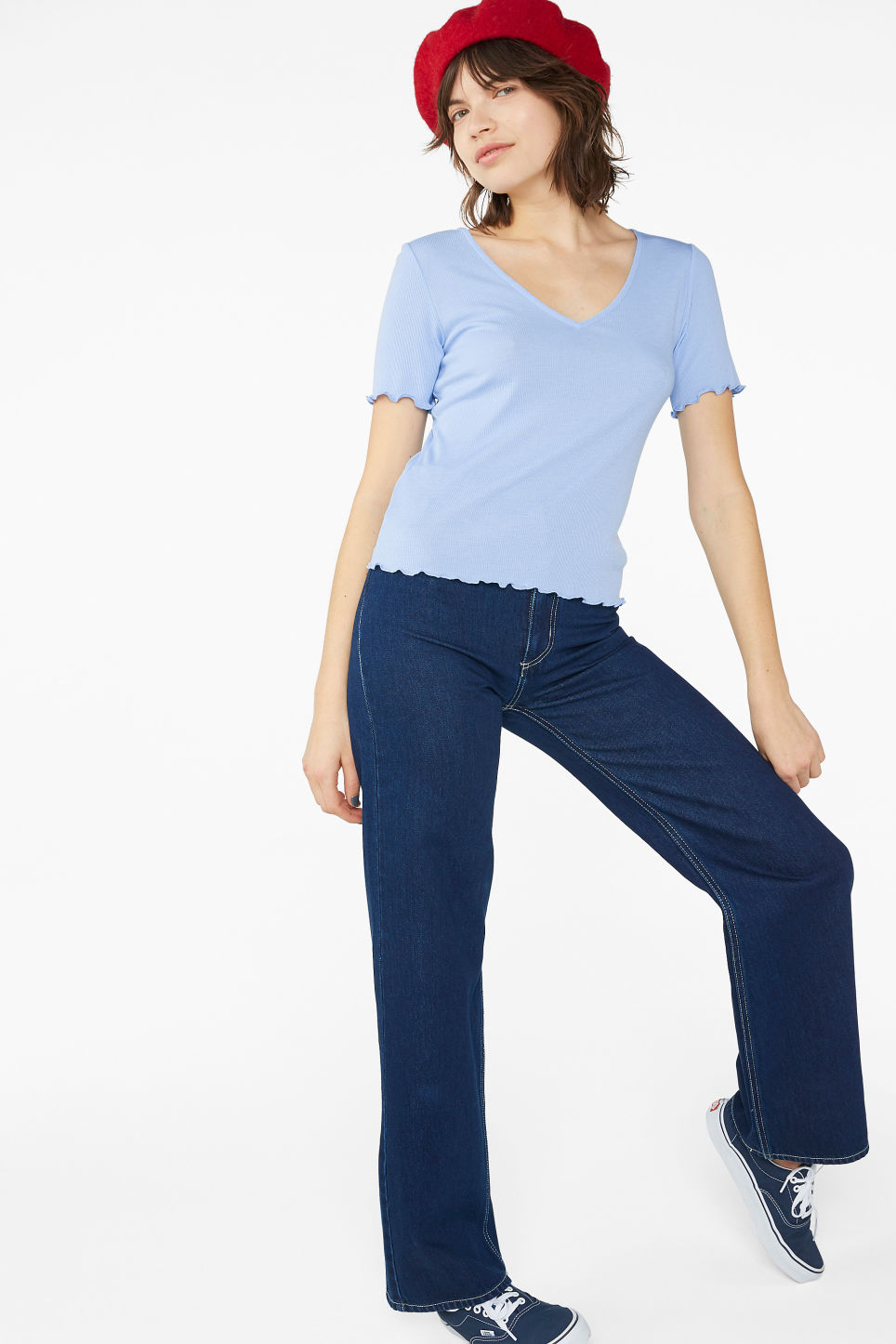 Model front image of Monki v-neck top in blue