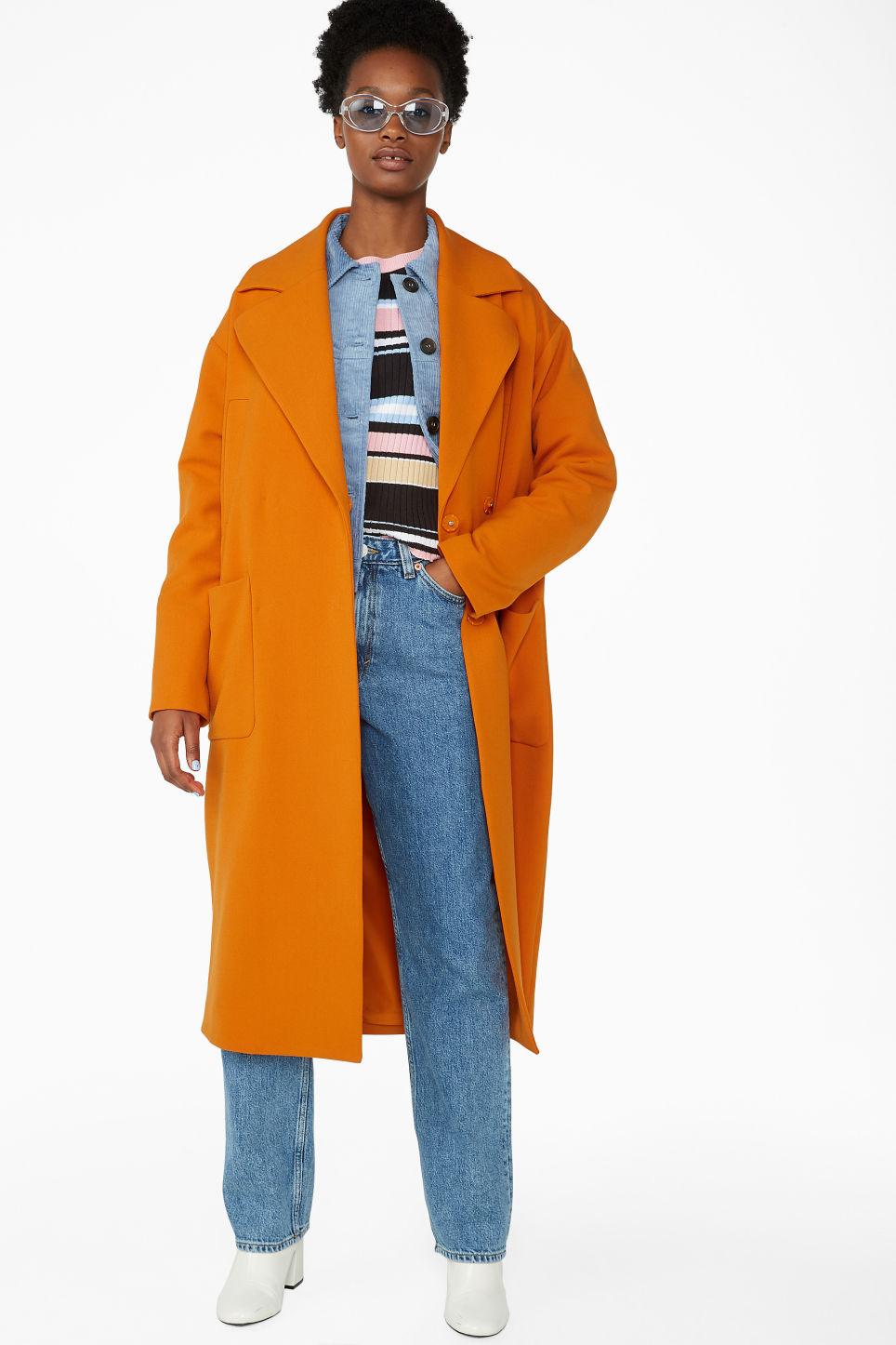 Model front image of Monki double breasted coat in orange