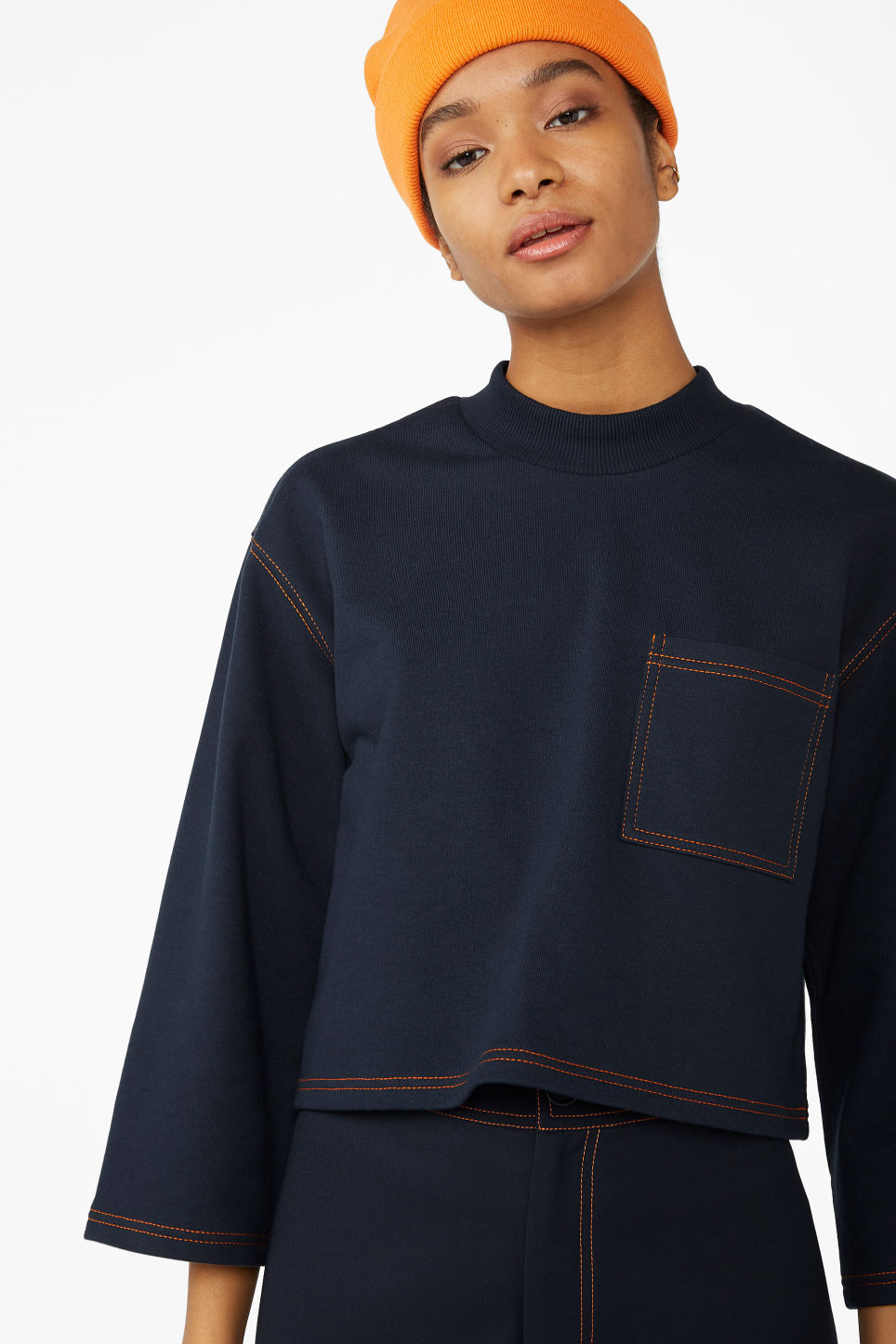 Model front image of Monki cropped sweater in blue