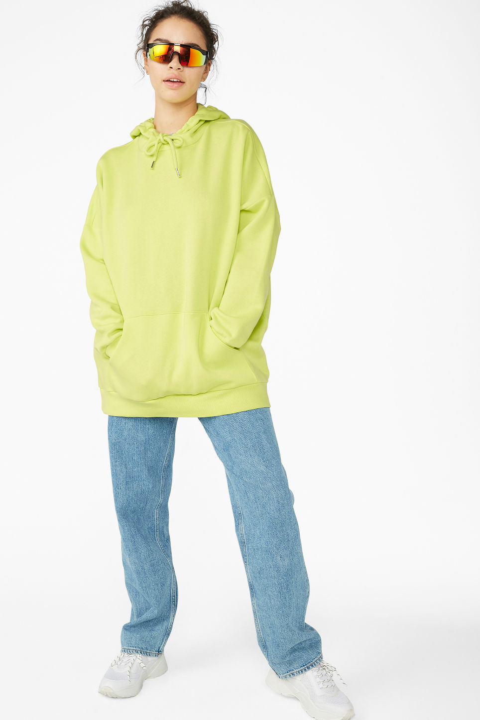 Model front image of Monki soft drawstring hoodie in yellow