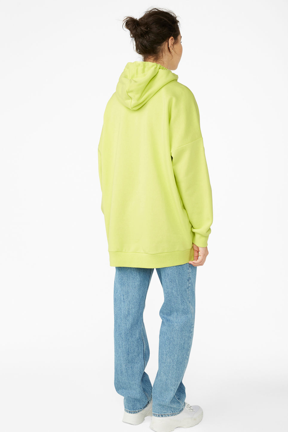 Model back image of Monki soft drawstring hoodie in yellow