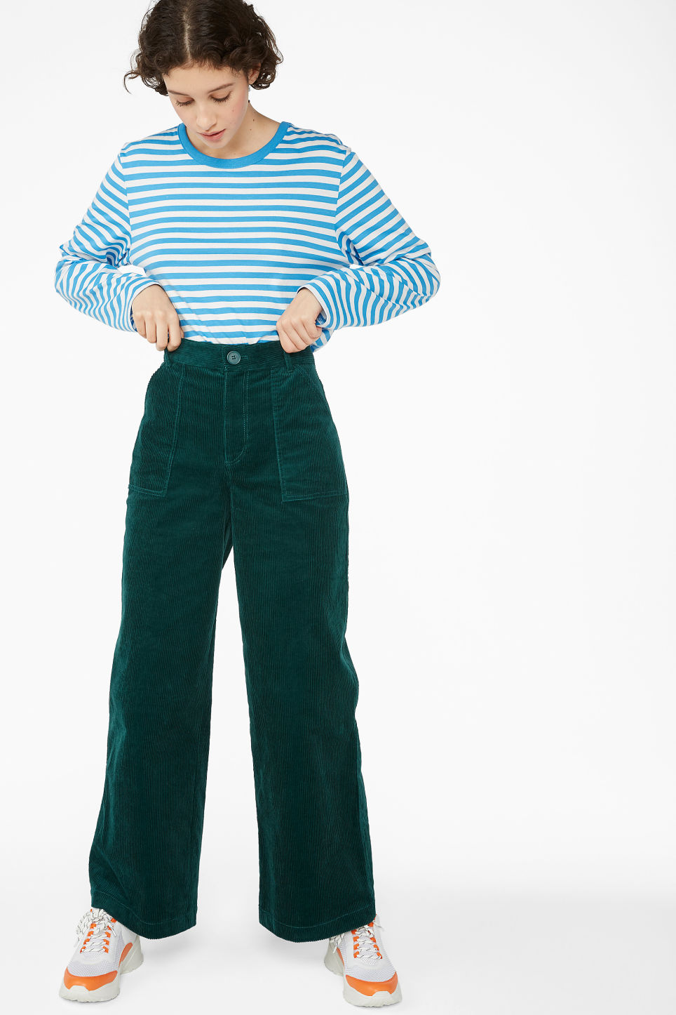 Model front image of Monki wide utility trousers in green