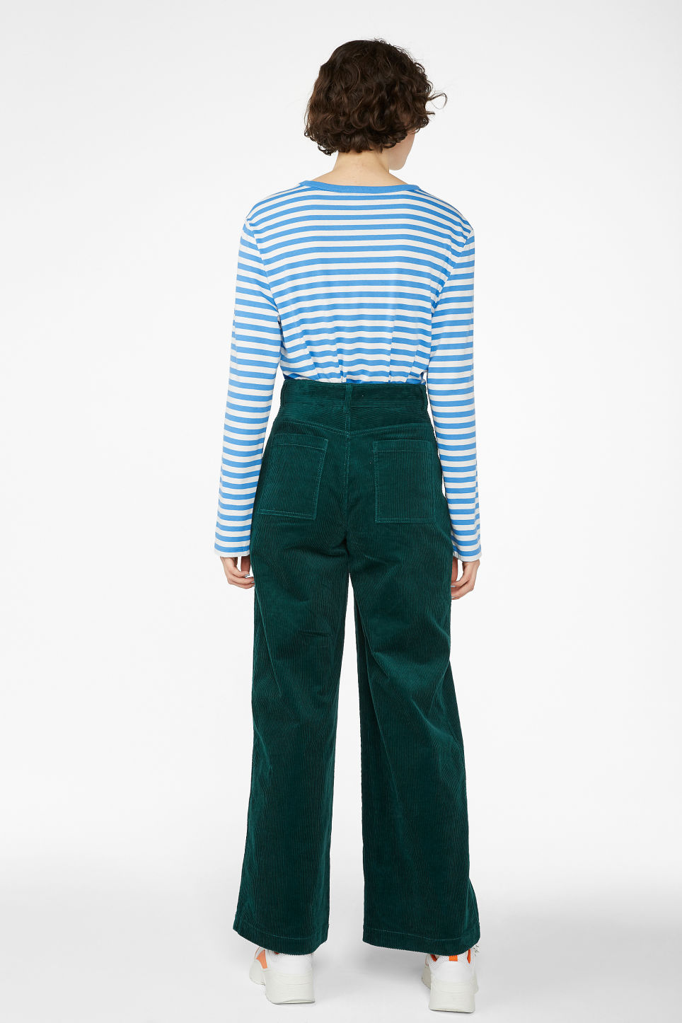 Model back image of Monki wide utility trousers in green