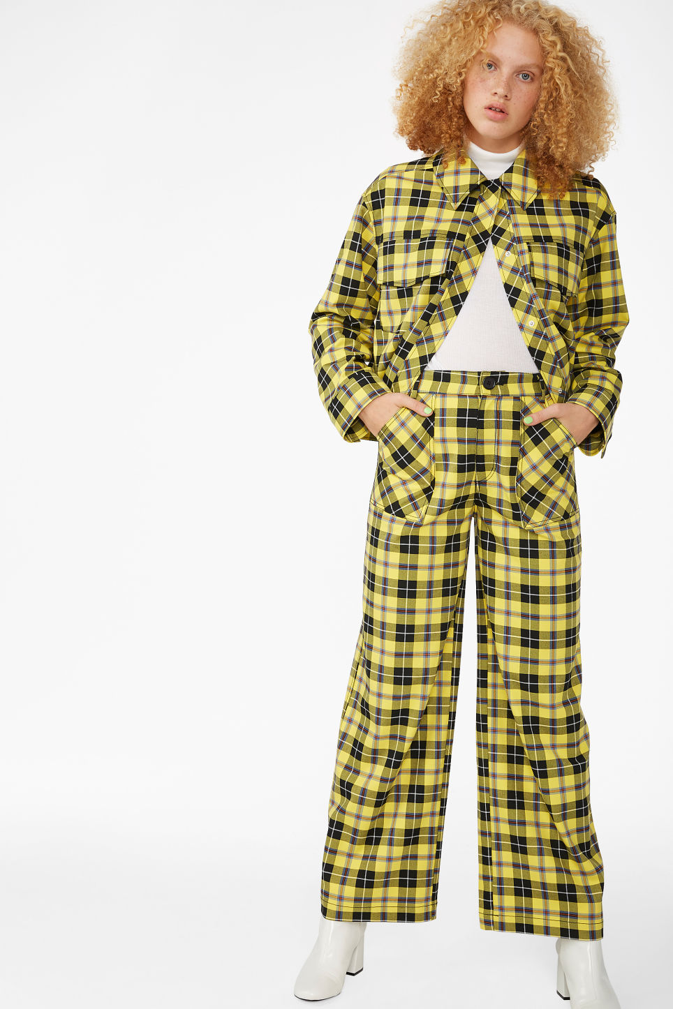 Model front image of Monki wide utility trousers in yellow