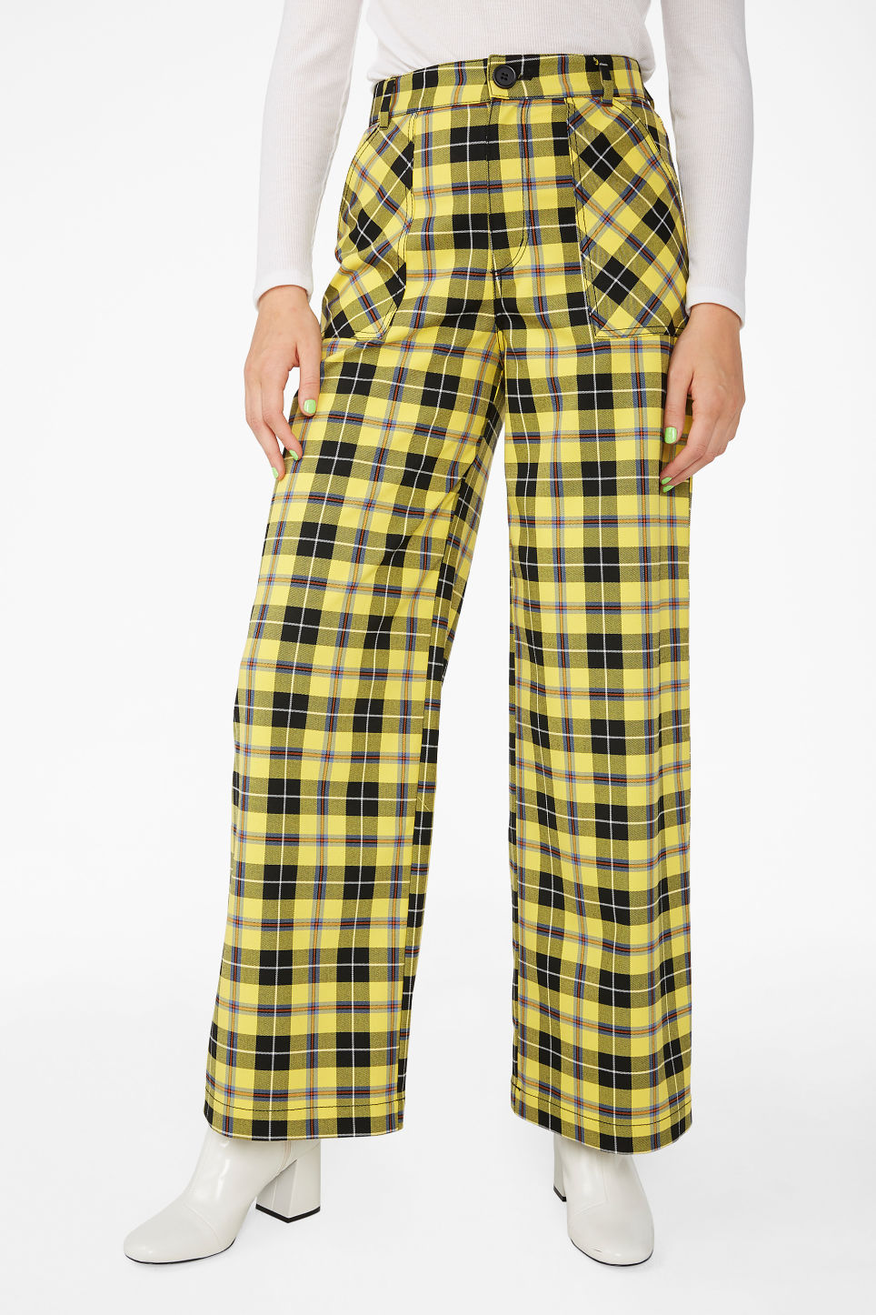 Model side image of Monki wide utility trousers in yellow