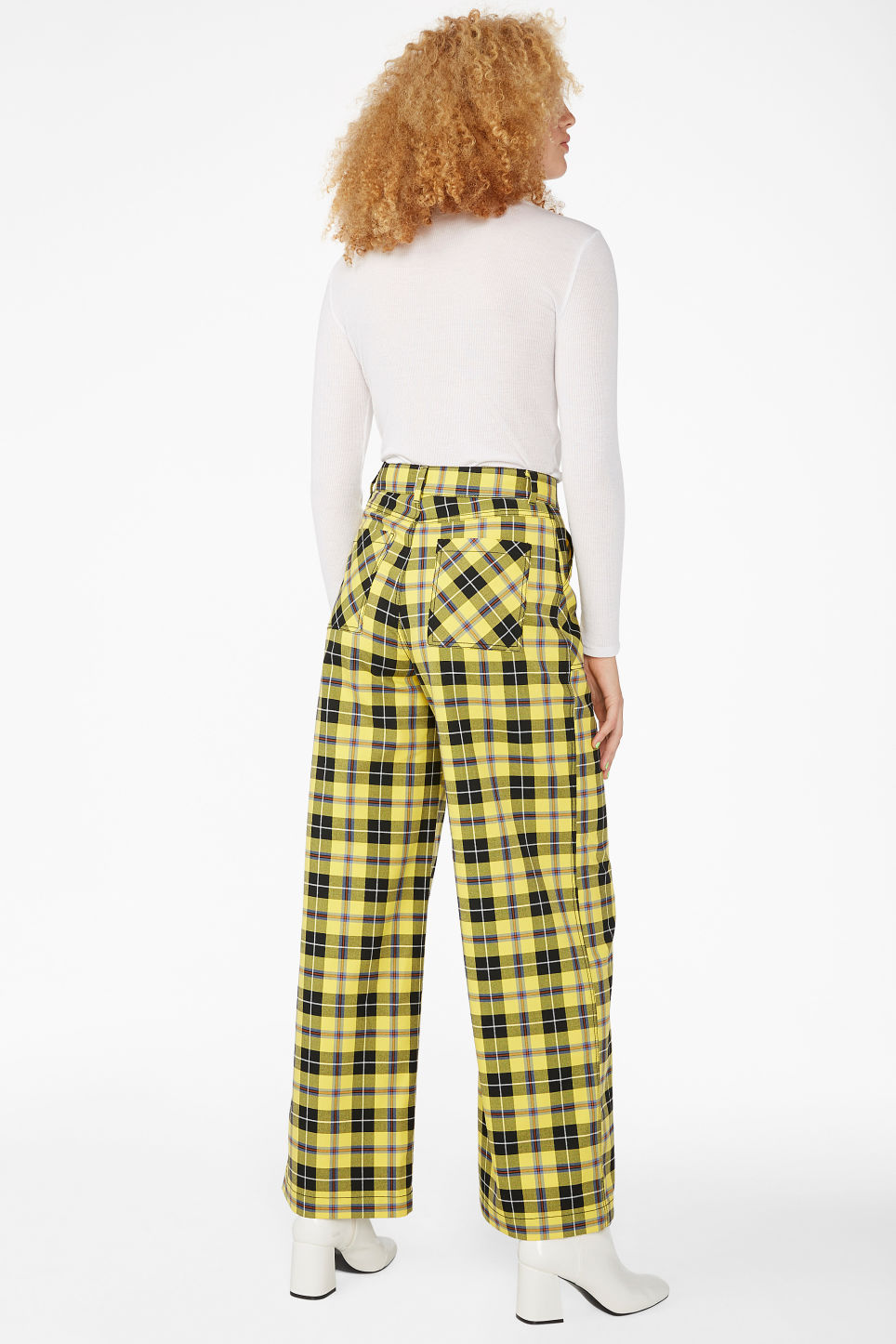 Model back image of Monki wide utility trousers in yellow
