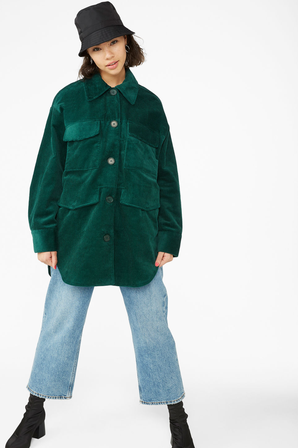 Model front image of Monki utility cord jacket in green