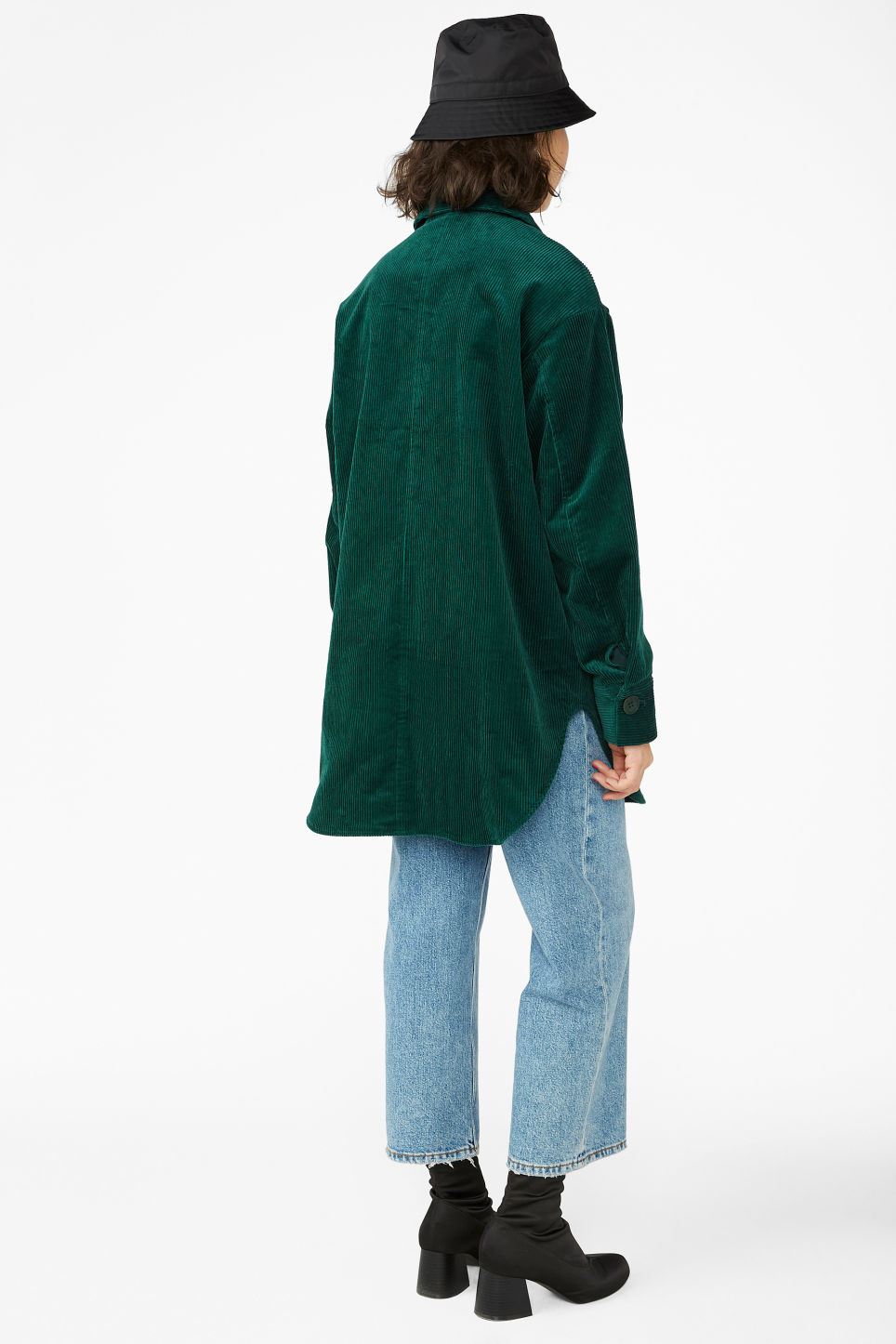 Model back image of Monki utility cord jacket in green