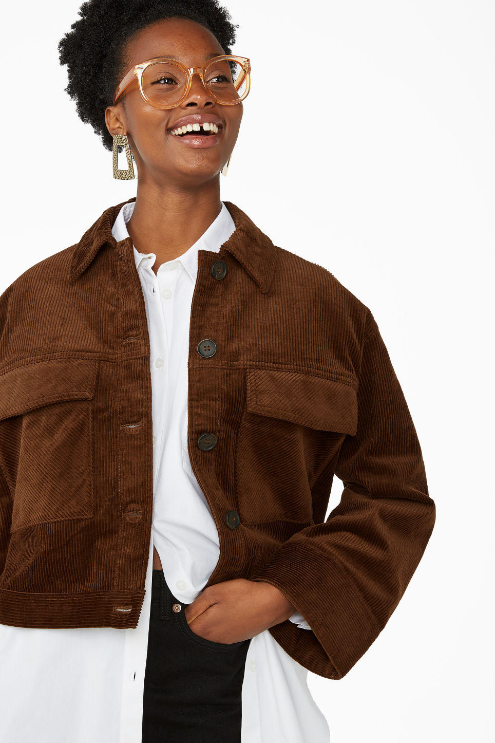 Model front image of Monki corduroy jacket in beige