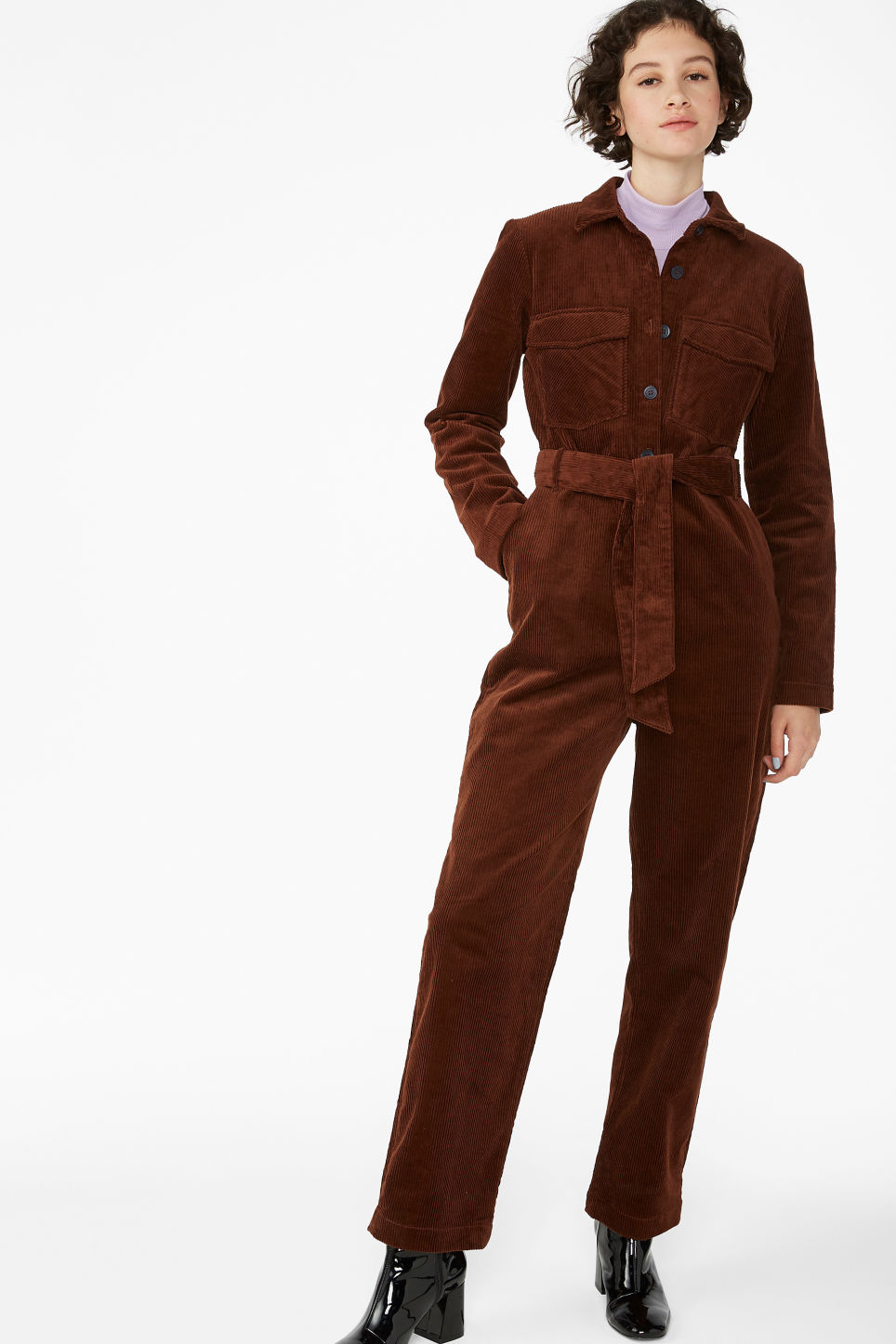 f9c3ddde3e Corduroy jumpsuit - Dark chocolate brown - Jumpsuits - Monki