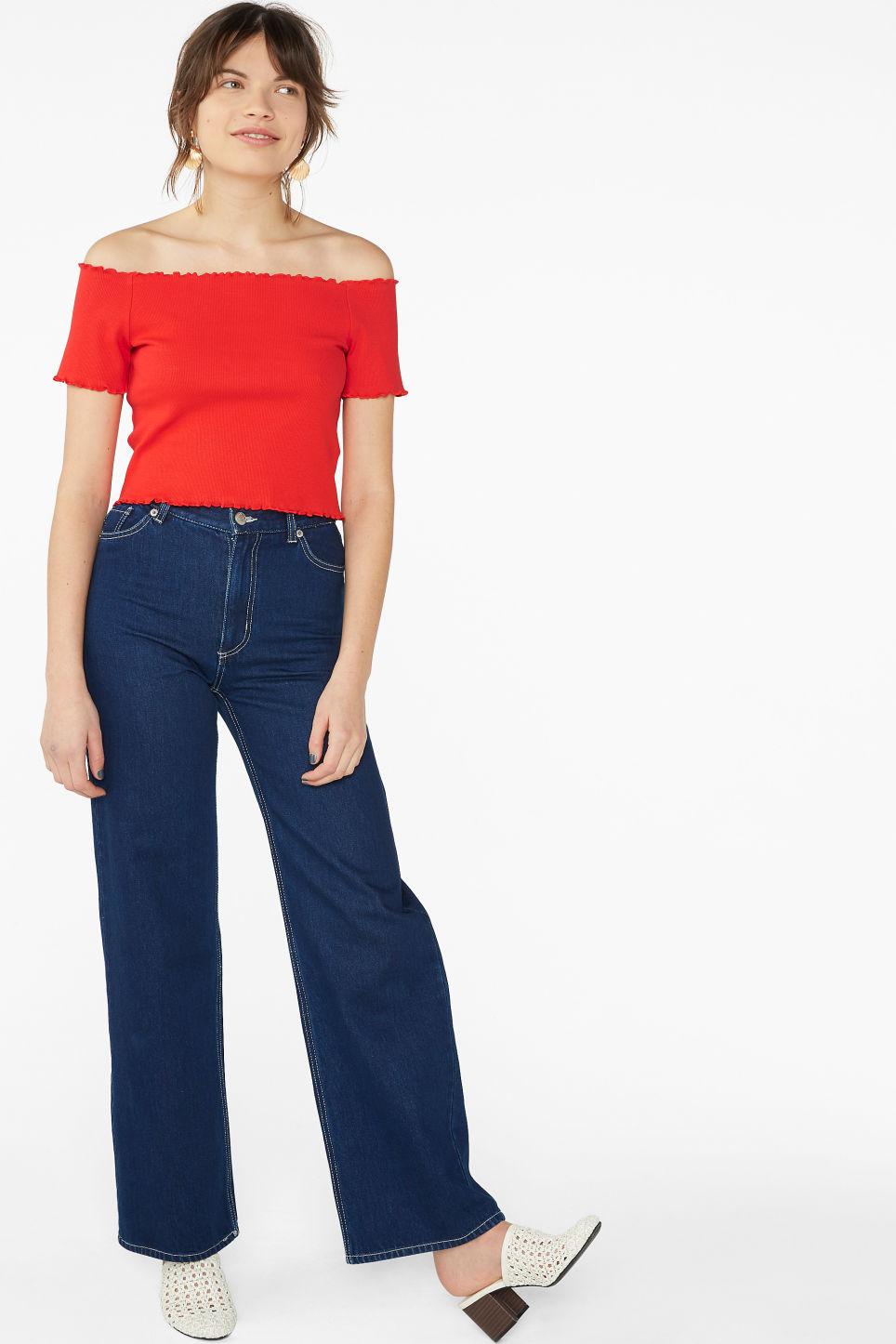 Model side image of Monki cropped bardot top  in red