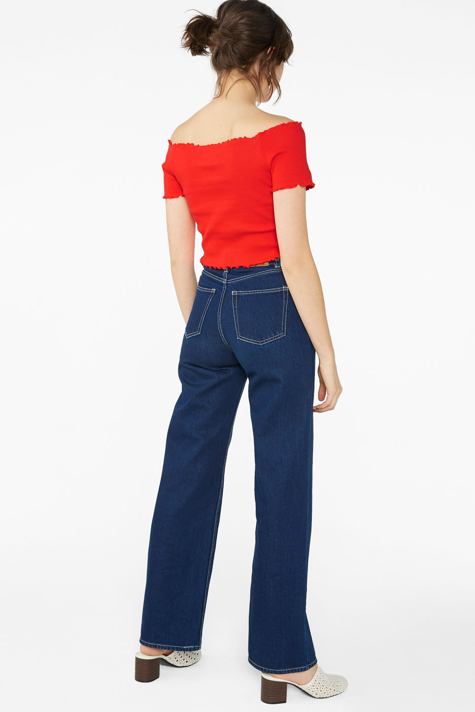 Model front image of Monki cropped bardot top  in red