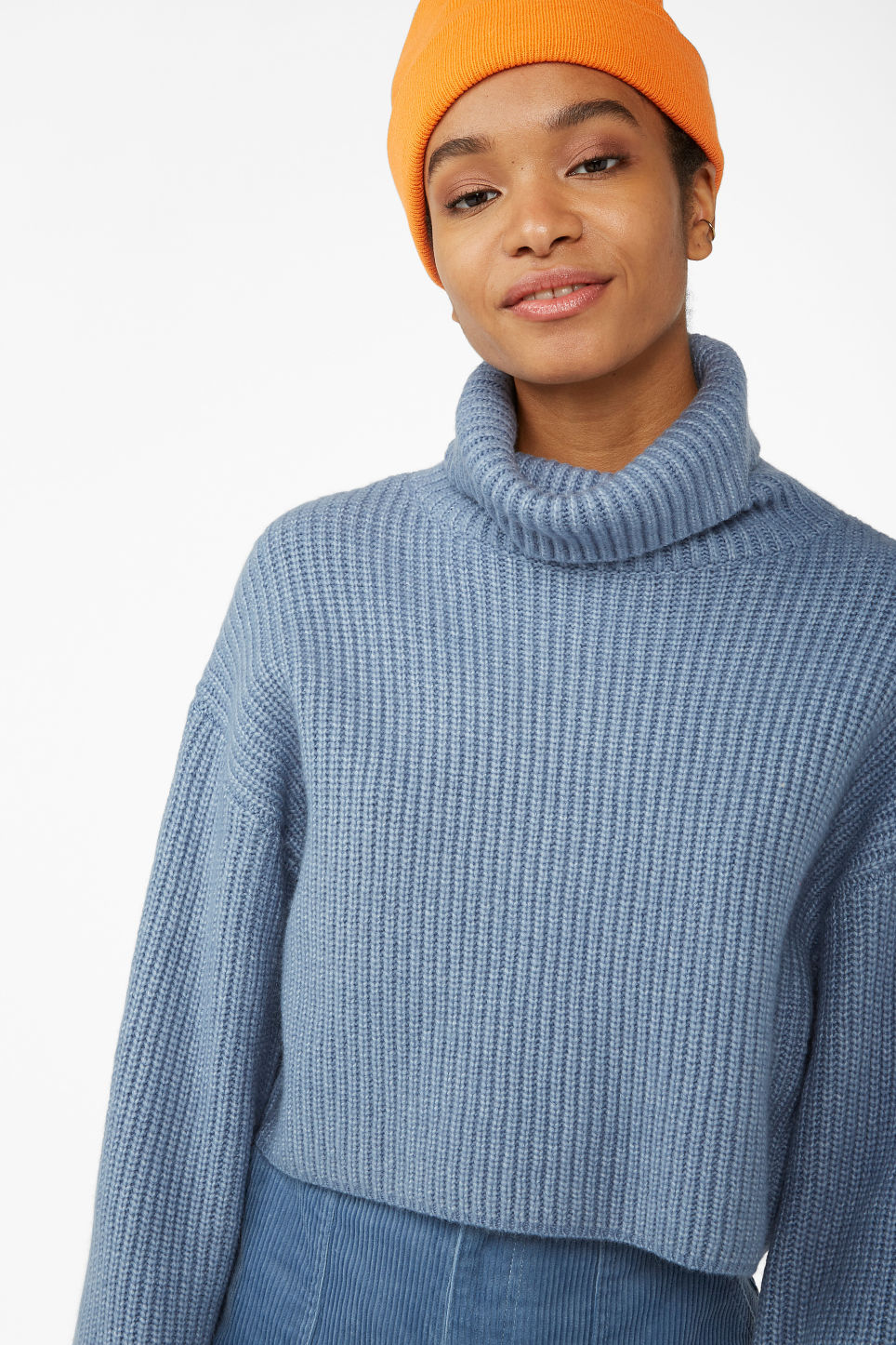 Model front image of Monki turtleneck knit top in blue