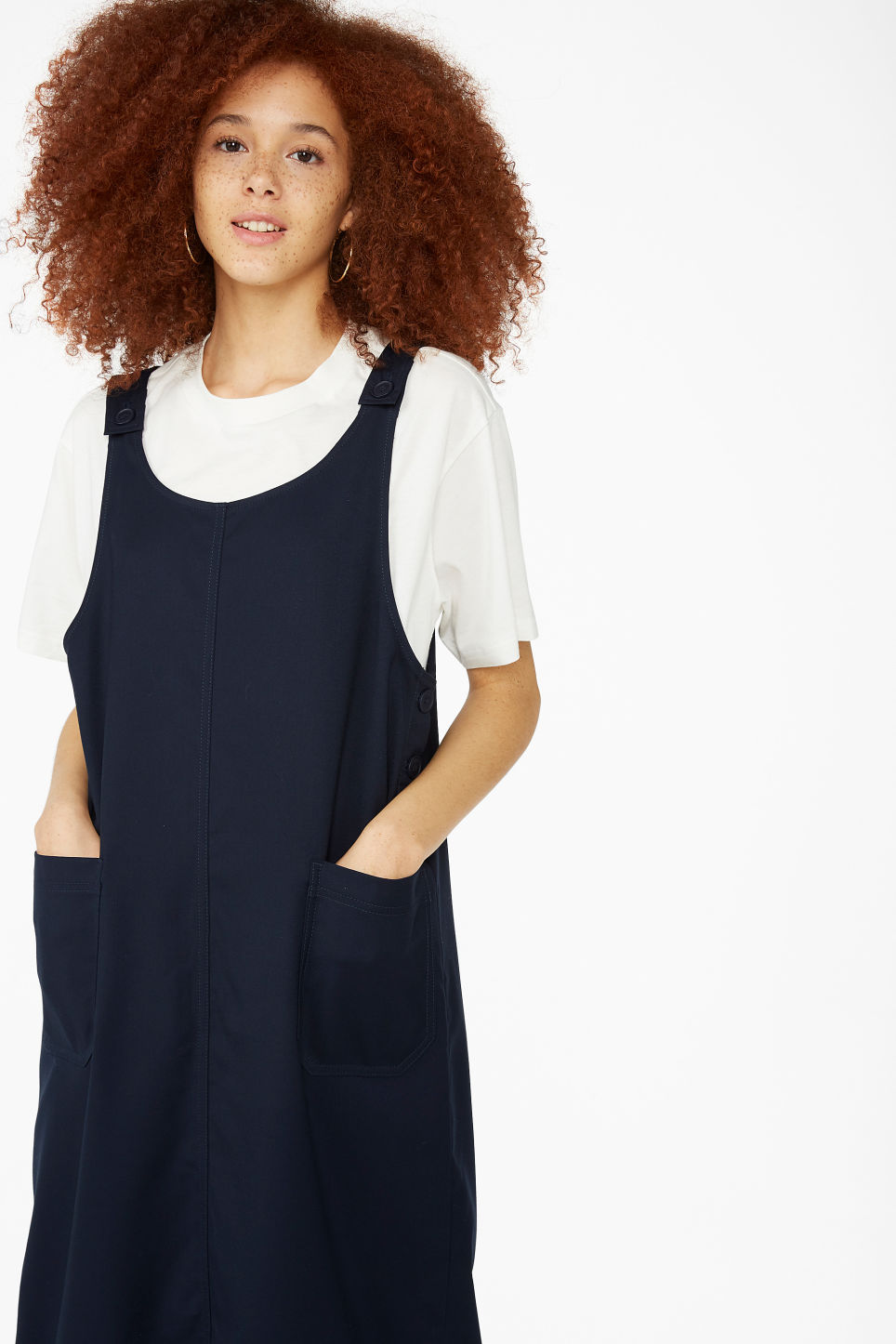 Model front image of Monki utility dress in blue