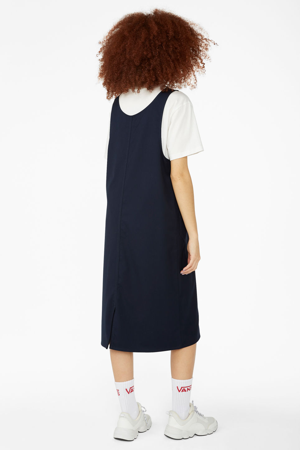 Model back image of Monki utility dress in blue