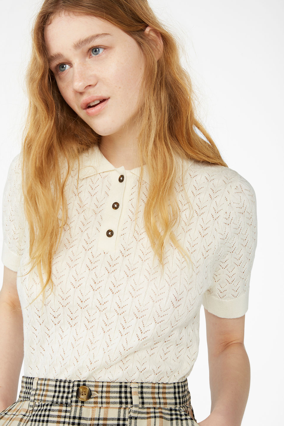Model front image of Monki pique knit top in white