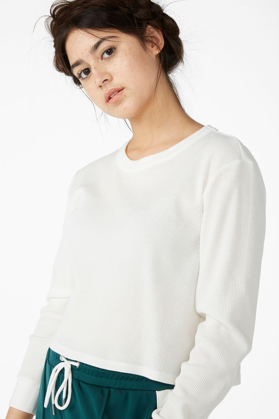 Model front image of Monki waffle knit pullover in white