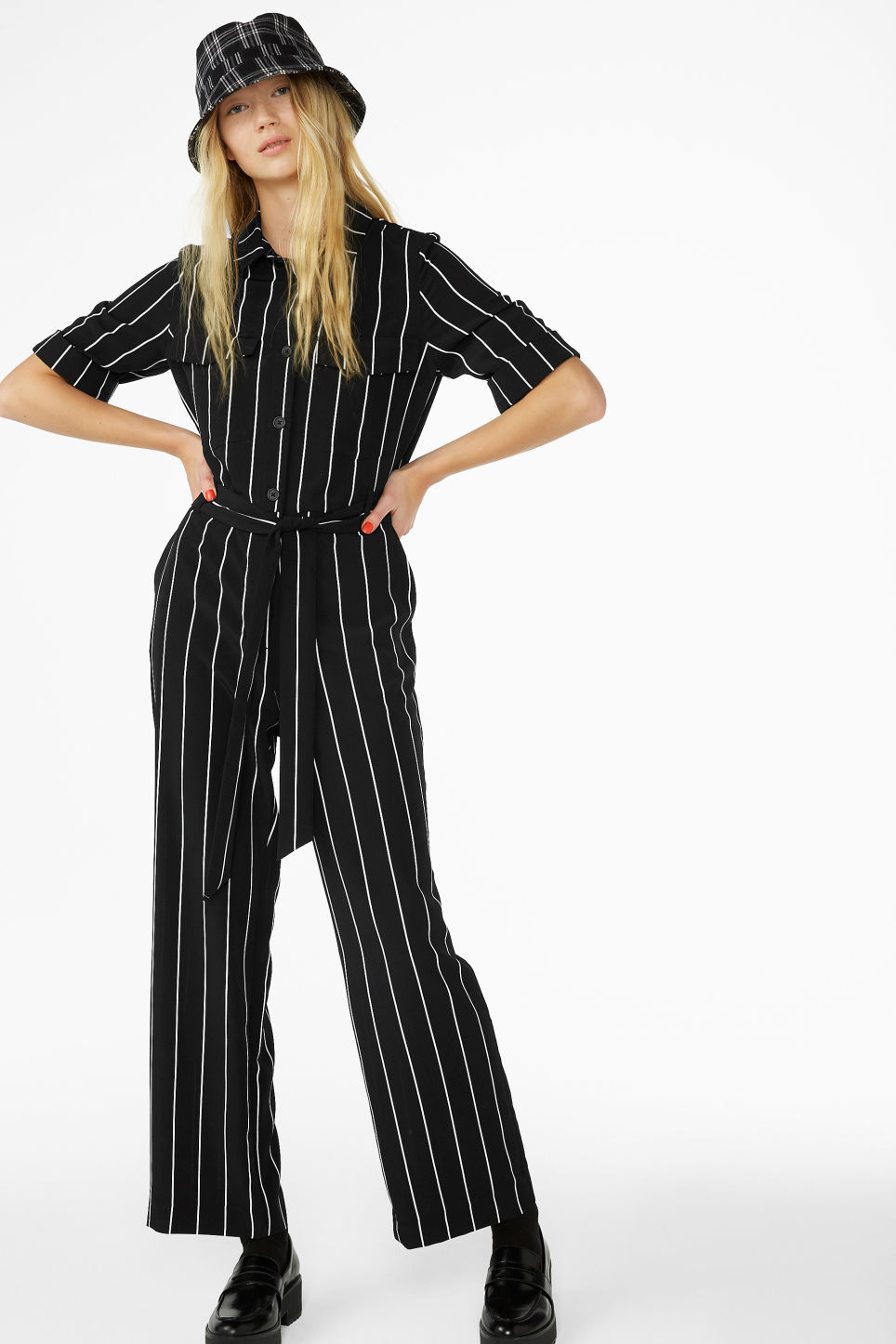 Model front image of Monki belted jumpsuit in black