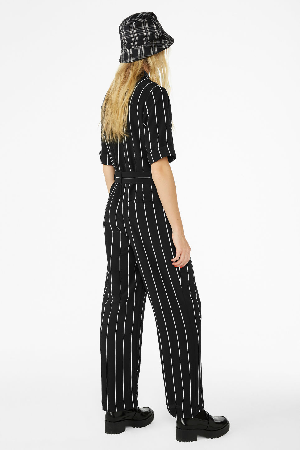 Model back image of Monki belted jumpsuit in black
