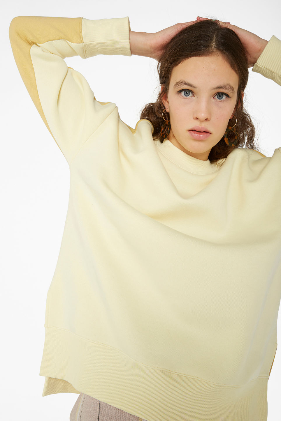 Model front image of Monki oversized sweater in yellow