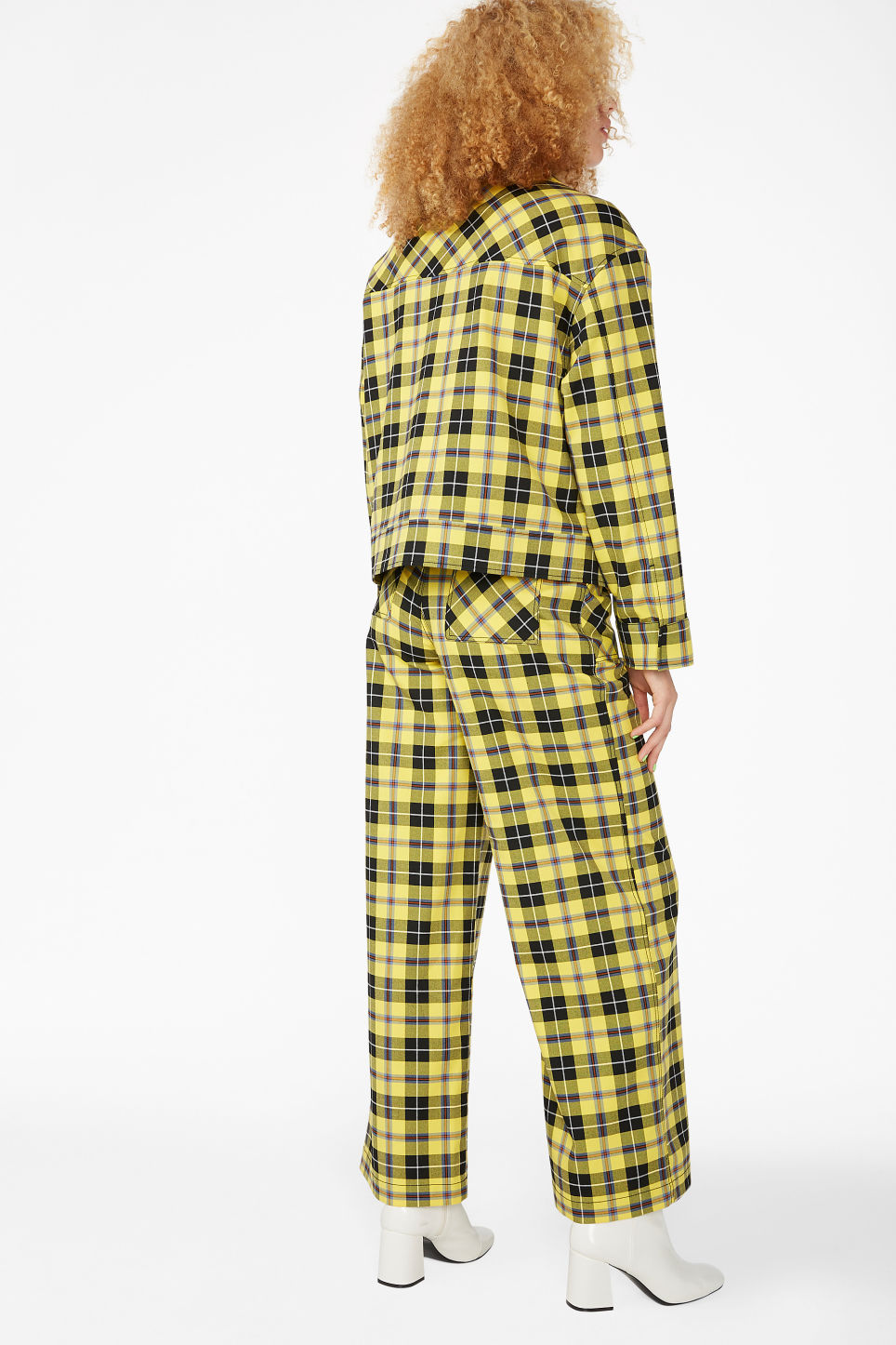 Model back image of Monki plaid jacket in yellow