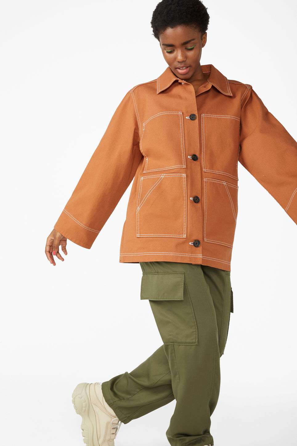 Model front image of Monki contrast stitch jacket in orange