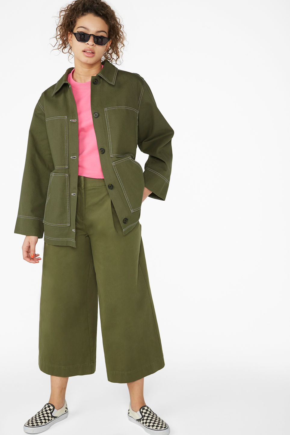 Model front image of Monki contrast stitch jacket in green