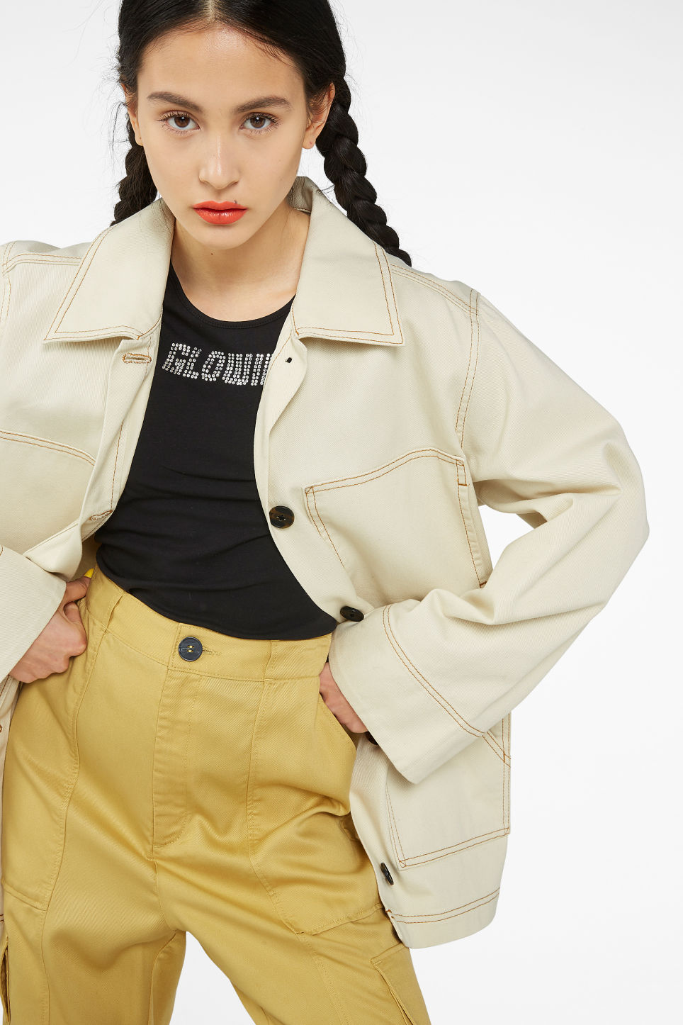 Model front image of Monki contrast stitch jacket in beige