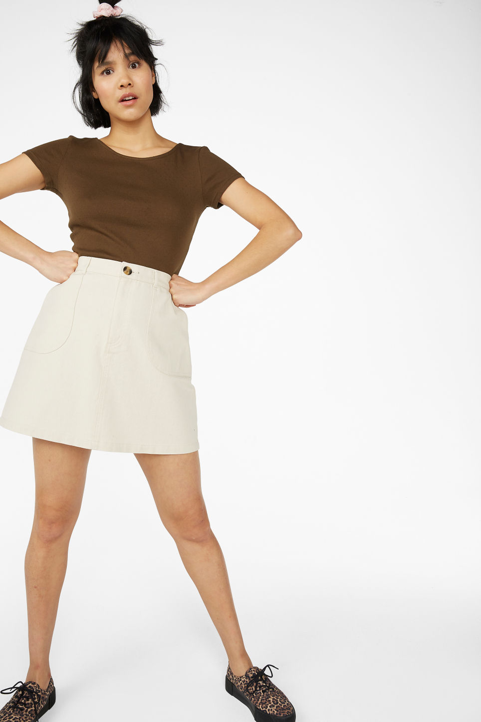 Model front image of Monki low back top in beige