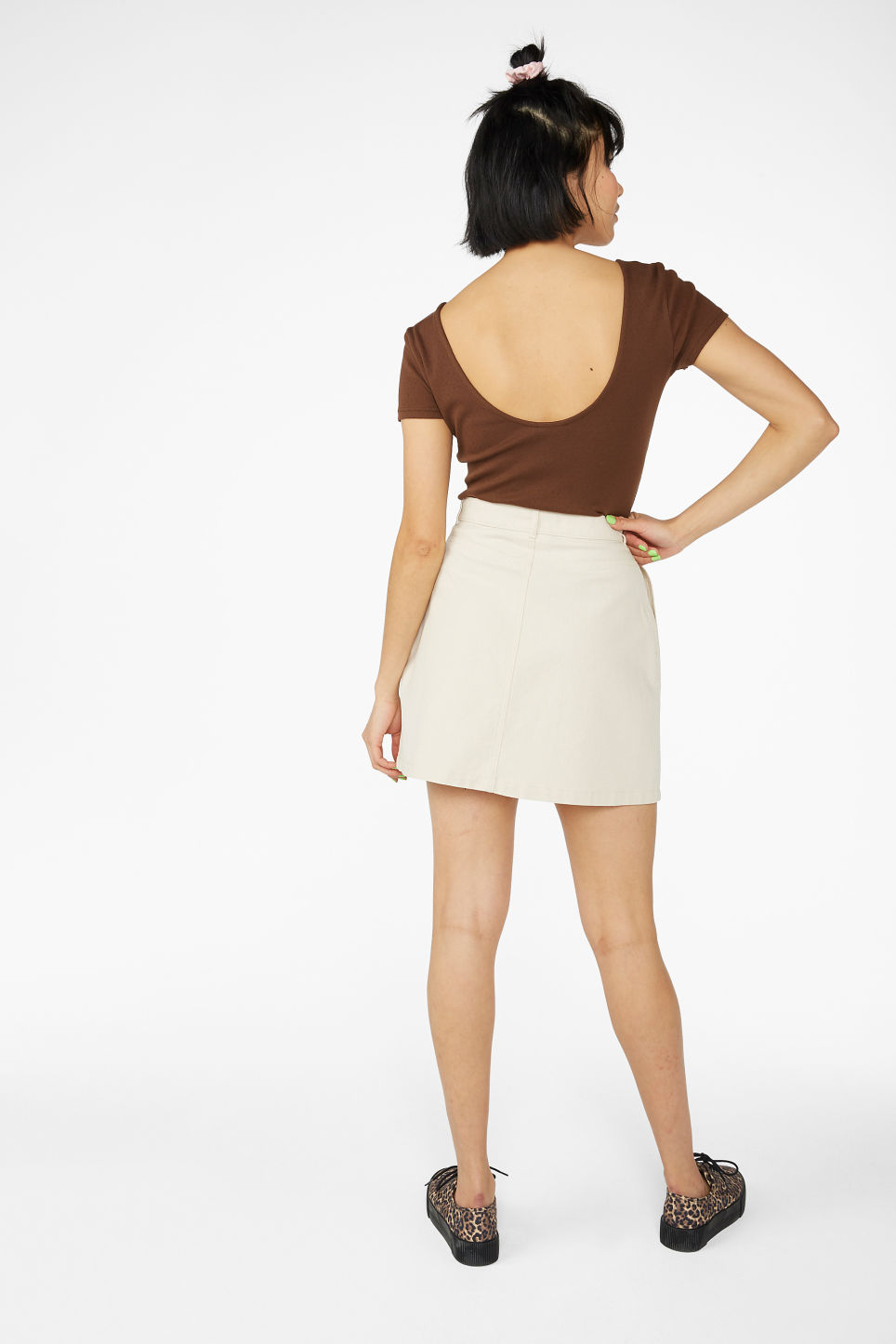 Model back image of Monki low back top in beige