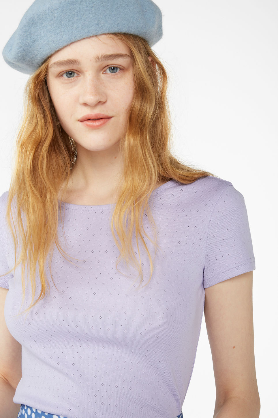 Model front image of Monki low back top in purple