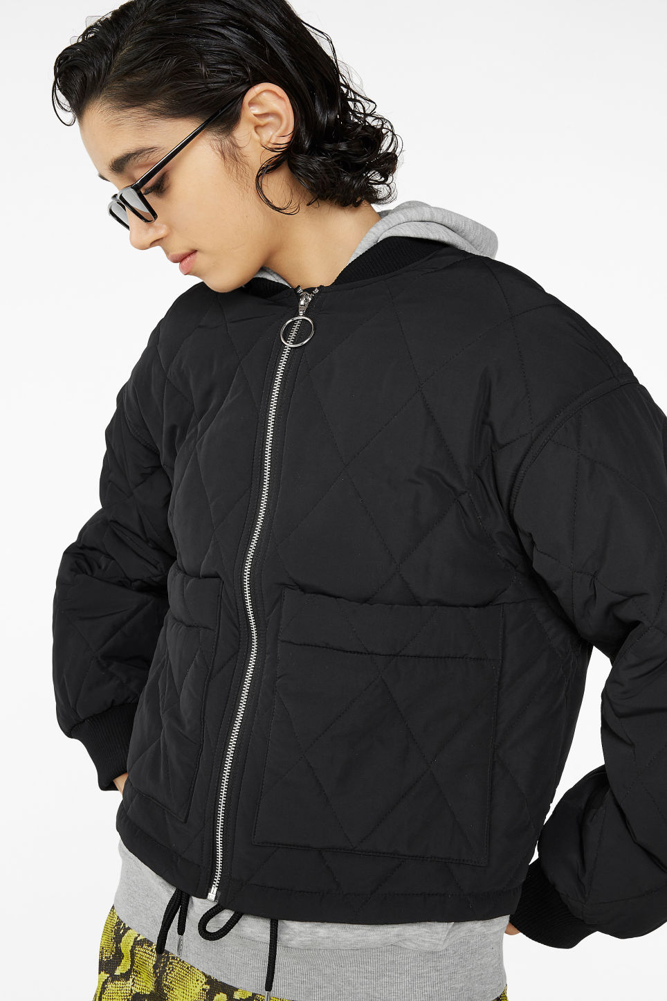 Model front image of Monki quilted jacket in black