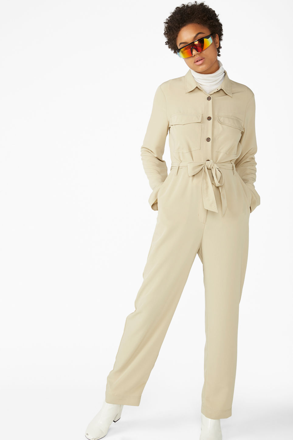 cacd4a93b1 Model front image of Monki utility jumpsuit in beige