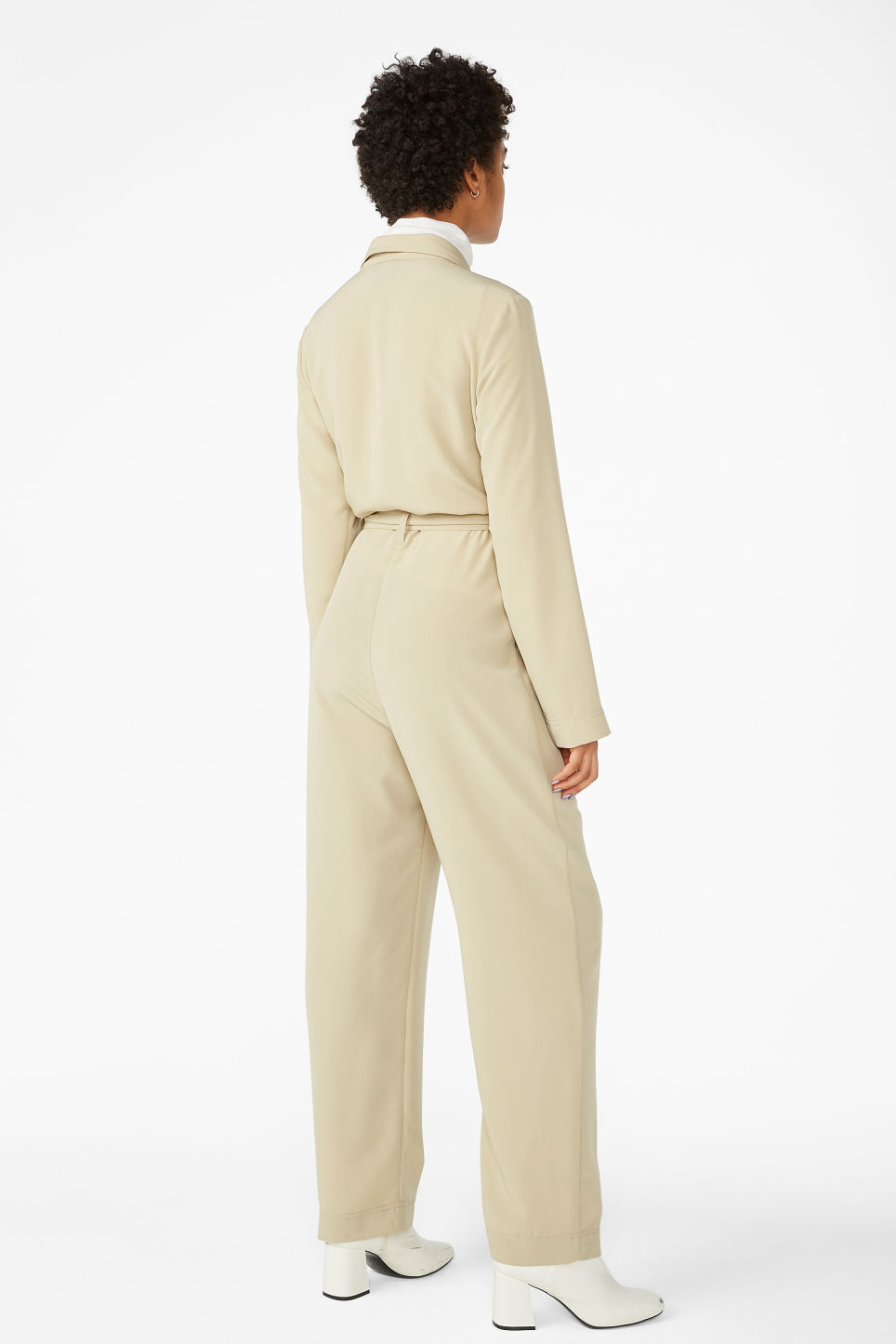 Model back image of Monki utility jumpsuit in beige