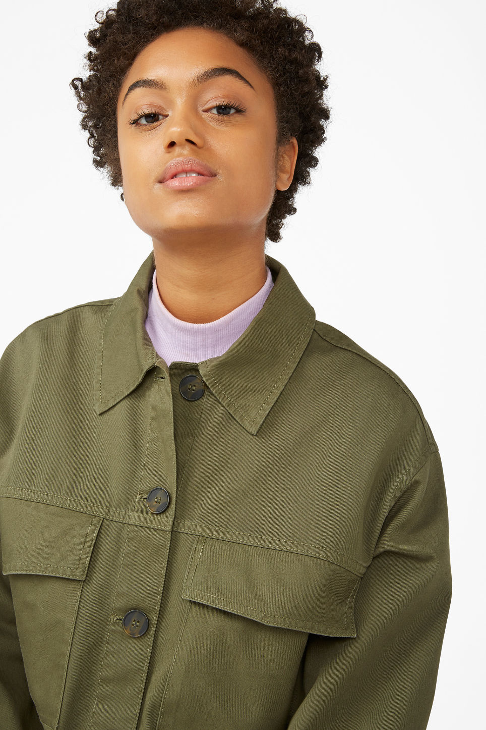 Model front image of Monki cropped utility jacket in green