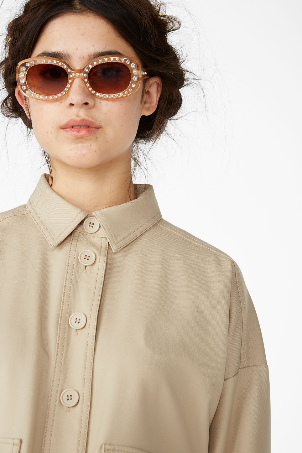Model front image of Monki rhinestone sunglasses in beige
