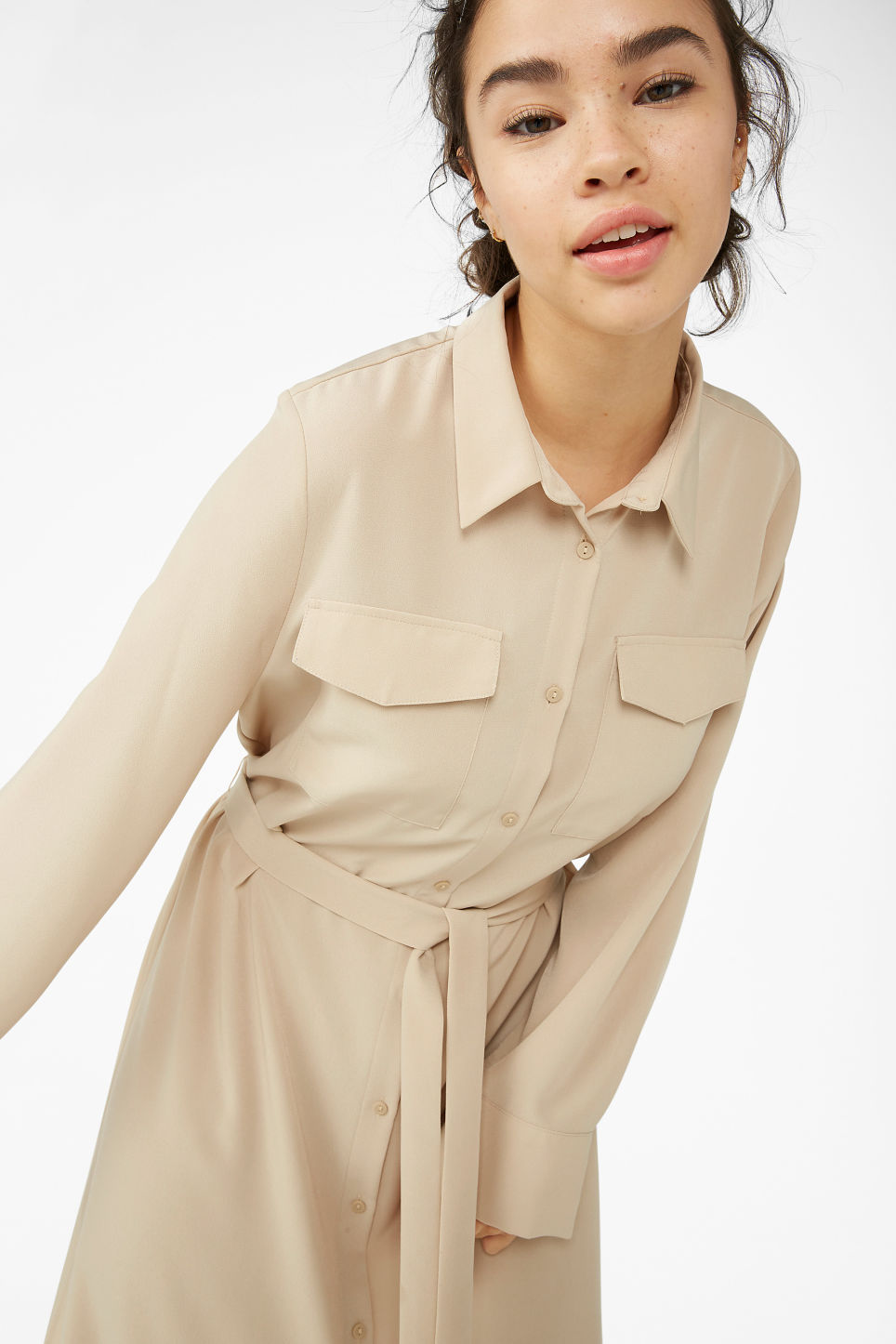 Model front image of Monki flowy utility dress in beige