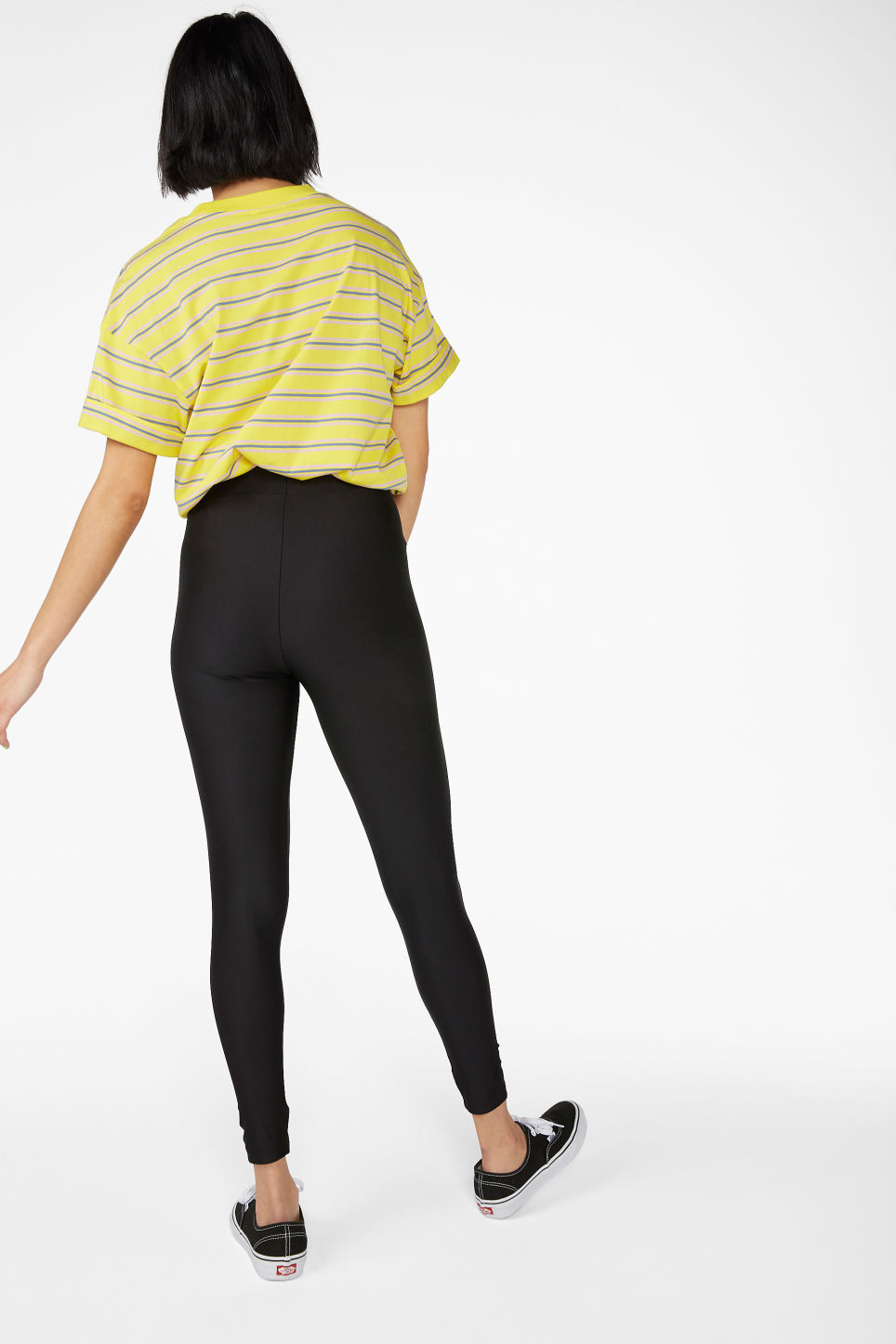 Model back image of Monki silky leggings in black