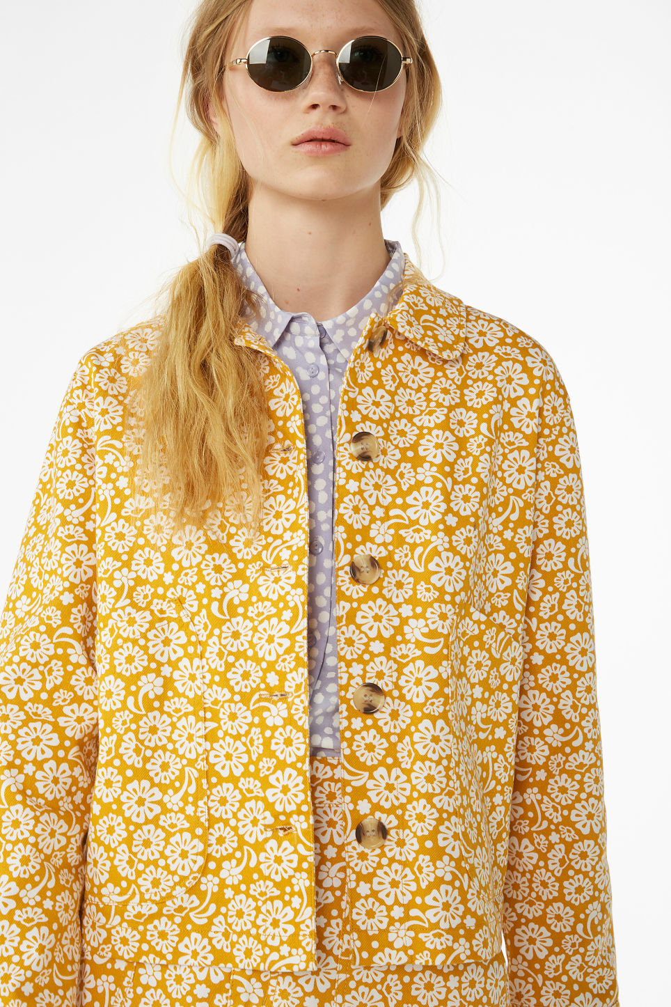 Model front image of Monki boxy utility jacket in yellow